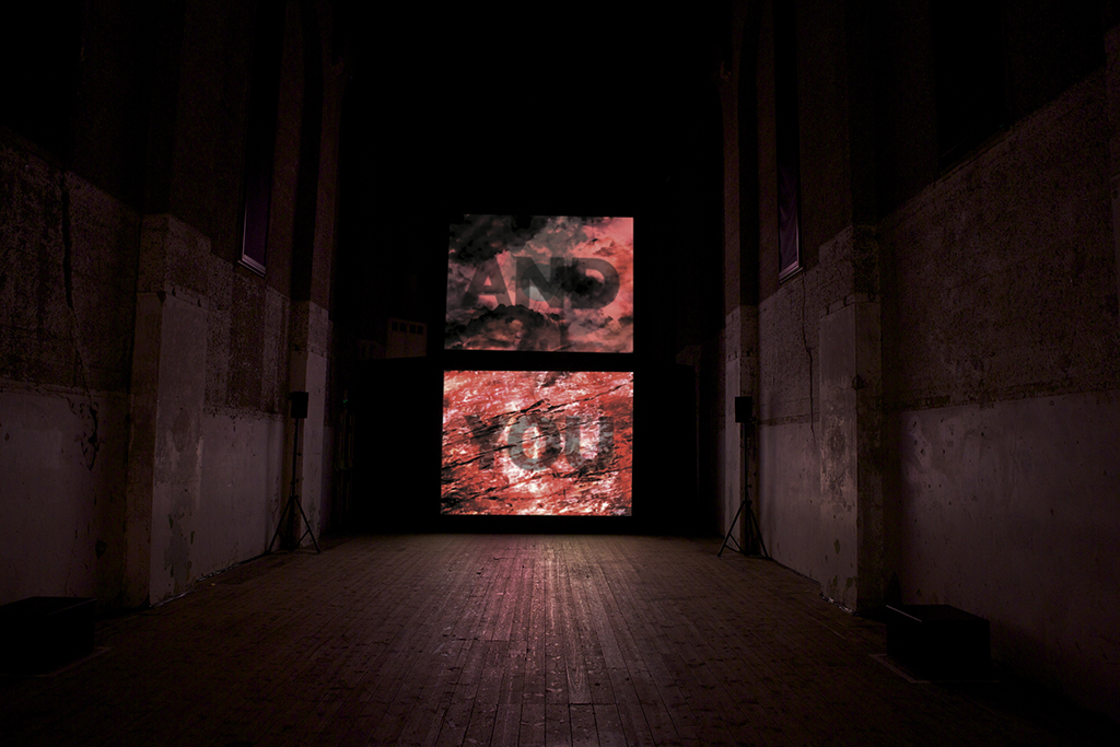 'Rose', 2014, 4 channel video projection with surround sound. Installed Dilston Grove London.